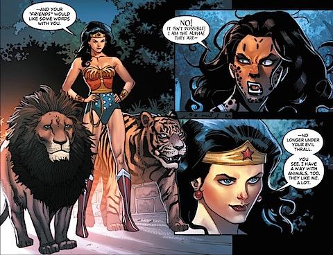 Wonder Woman controls the animals