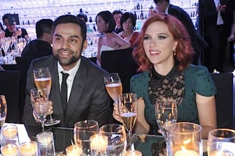 Scarlett Johansson drinking champagne