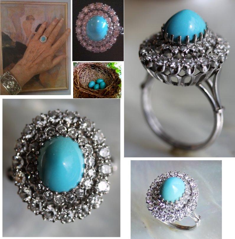 Persian Turquoise Diamond Ring