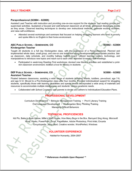 preschool teacher resumes resume sample