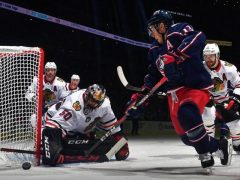 The Rink Dp_bR0OXQAED84a-e1540304013494 RECAP: Blackhawks Steal a Win in Columbus Corey Crawford Columbus Blue Jackets Chicago Blackhawks Blue Jackets Blackhawks
