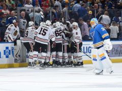 The Rink HawksVsBlues_10-2018-e1538922900968 RECAP: Blackhawks Beat The Blues 5-4 in OT st louis blues Jonathan Toews Chicago Blackhawks Blues Blackhawks