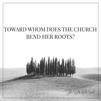Toward whom does the church bend her roots?