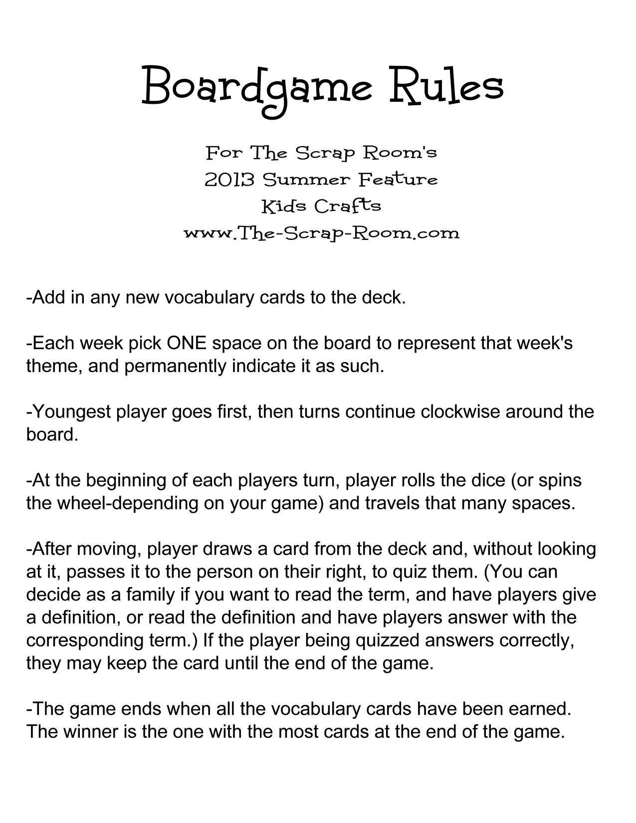 Board Game Instructions Example