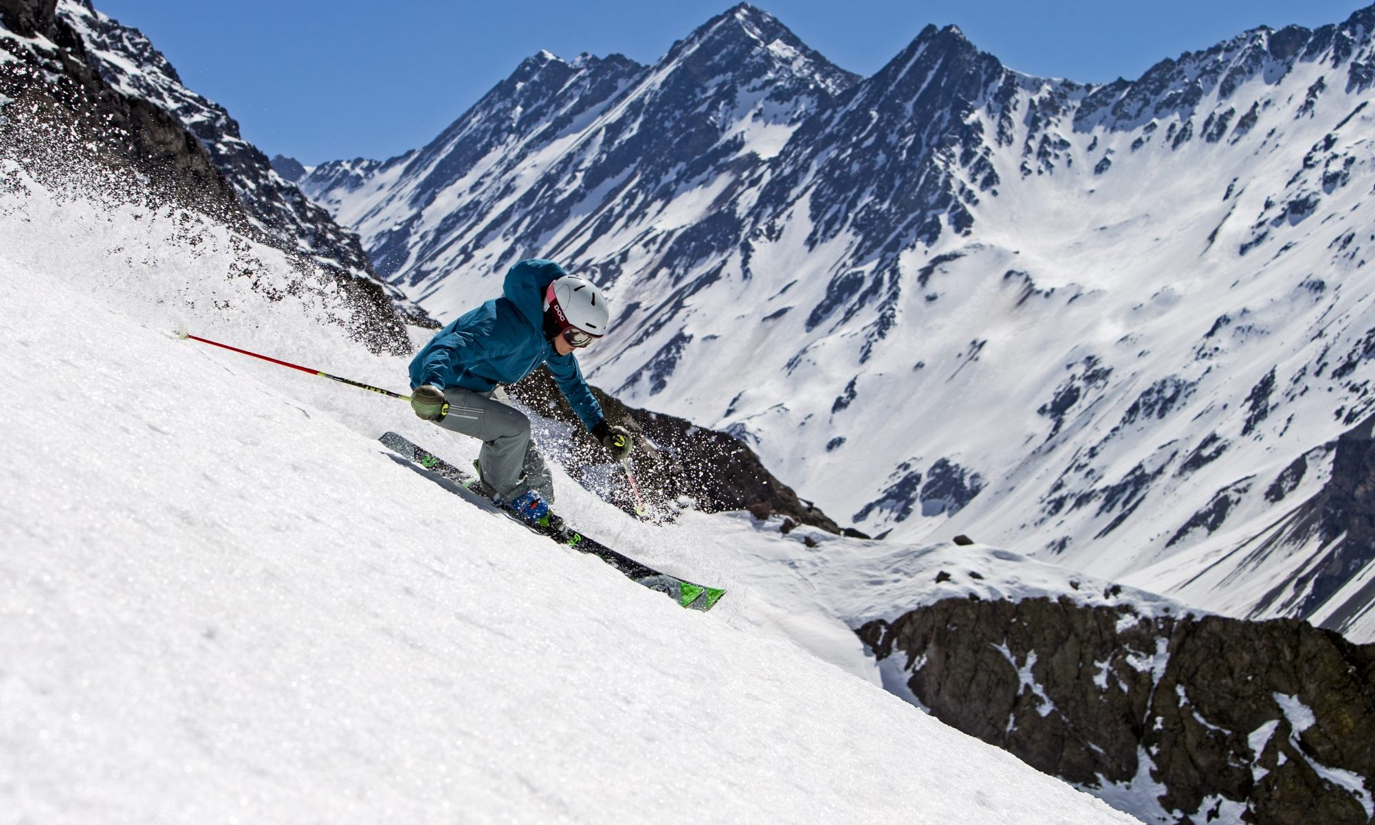 September 17, 2016 - Portillo, Chile: PSIA Demo Team member, Ann Schorling enjoying a day of corn snow and freeskiing in the Andes.