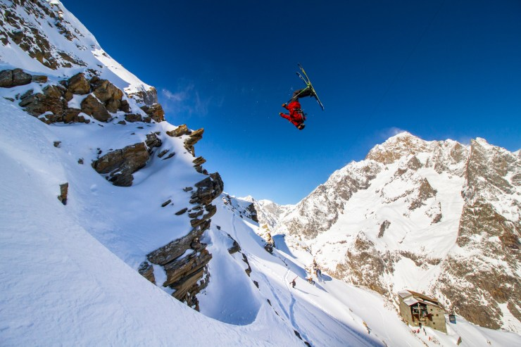 Ethan Stone by Tom Ritsch - skier jumping off a cliff in Courmayeur