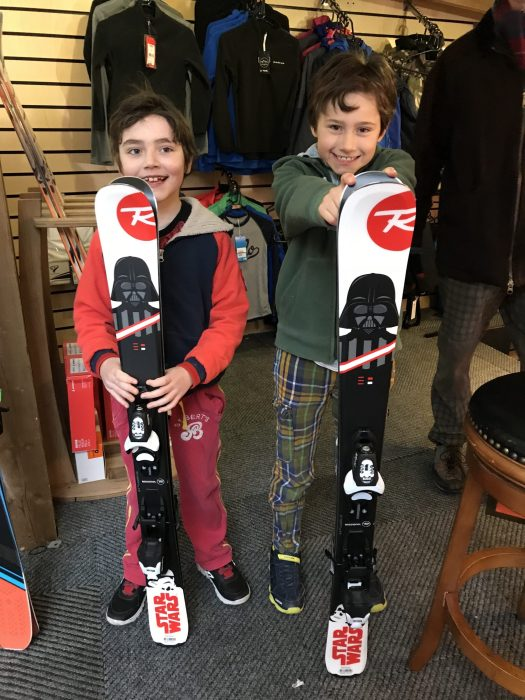 The boys are very excited with their new Star Wars skis: May the Force be with you - Photo by The-Ski-Guru