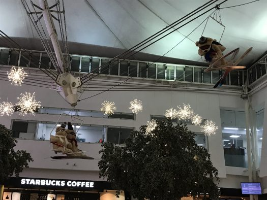 The Eurotunnel Folkestone roof was decorated with a ski theme. Photo by The-Ski-Guru.