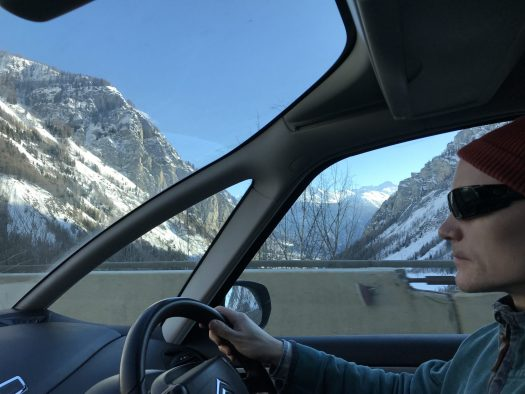 As soon as we've passed the Mont Blanc Tunnel, we were greeted with sun in Courmayeur. Photo by The-Ski-Guru.