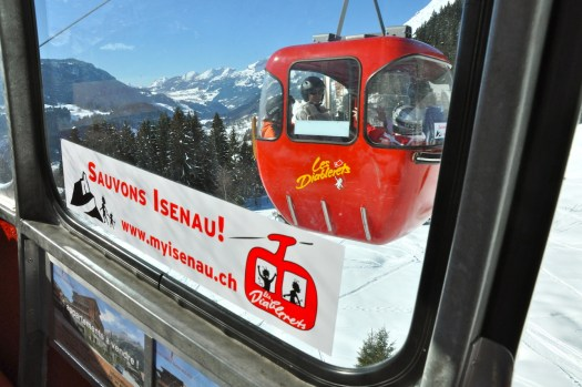 The message to save the Isenau lift - this was a major campaign that united all the people in the mountain village.