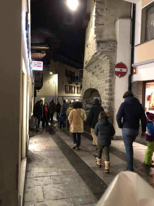 Via Roma at Aperitivo time- after skiing - the place to see and be seen. Photo by The-Ski-Guru-Last part of our family half term trip – Picture-perfect Courmayeur Mont Blanc.