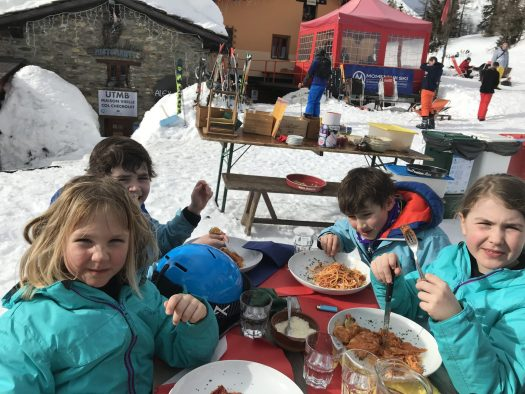The kids having lunch at Maison Vieille in Col Chécrouit. - Photo by The-Ski-Guru. Last part of our family half term trip – Picture-perfect Courmayeur Mont Blanc.