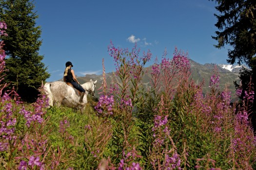 The equestrian centre at Verbier propose different activities: private and group courses of dressage and jumping, riding through the heart of the region, and pony riding for kids. Photo by François Perraudin, Verbier Promotion. Summer News in Verbier.