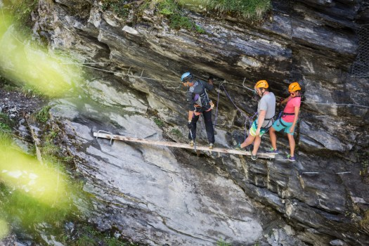 Via Ferrata at Mauvoisin, Madzeiria, gorges. Photo Melody Sky. Verbier Promotion. Summer news in Verbier.