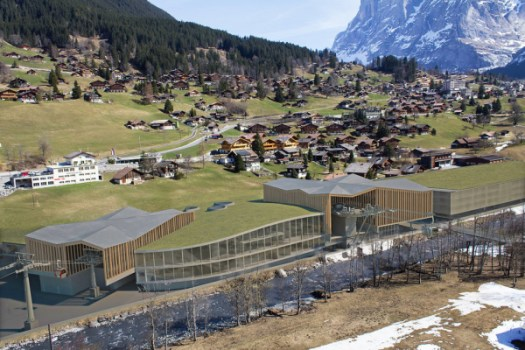 Photomontage of the possible new situation in the ground in Grindelwald. Left the new Männlichenbahn, right the Eiger Express and the parking garage. Both planned new buildings are marketed under the name V project