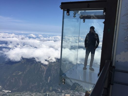 Step to the Void, attraction on top of the Aiguille du Midi, for those that are not fear of heights! Photo: The-Ski-Guru.