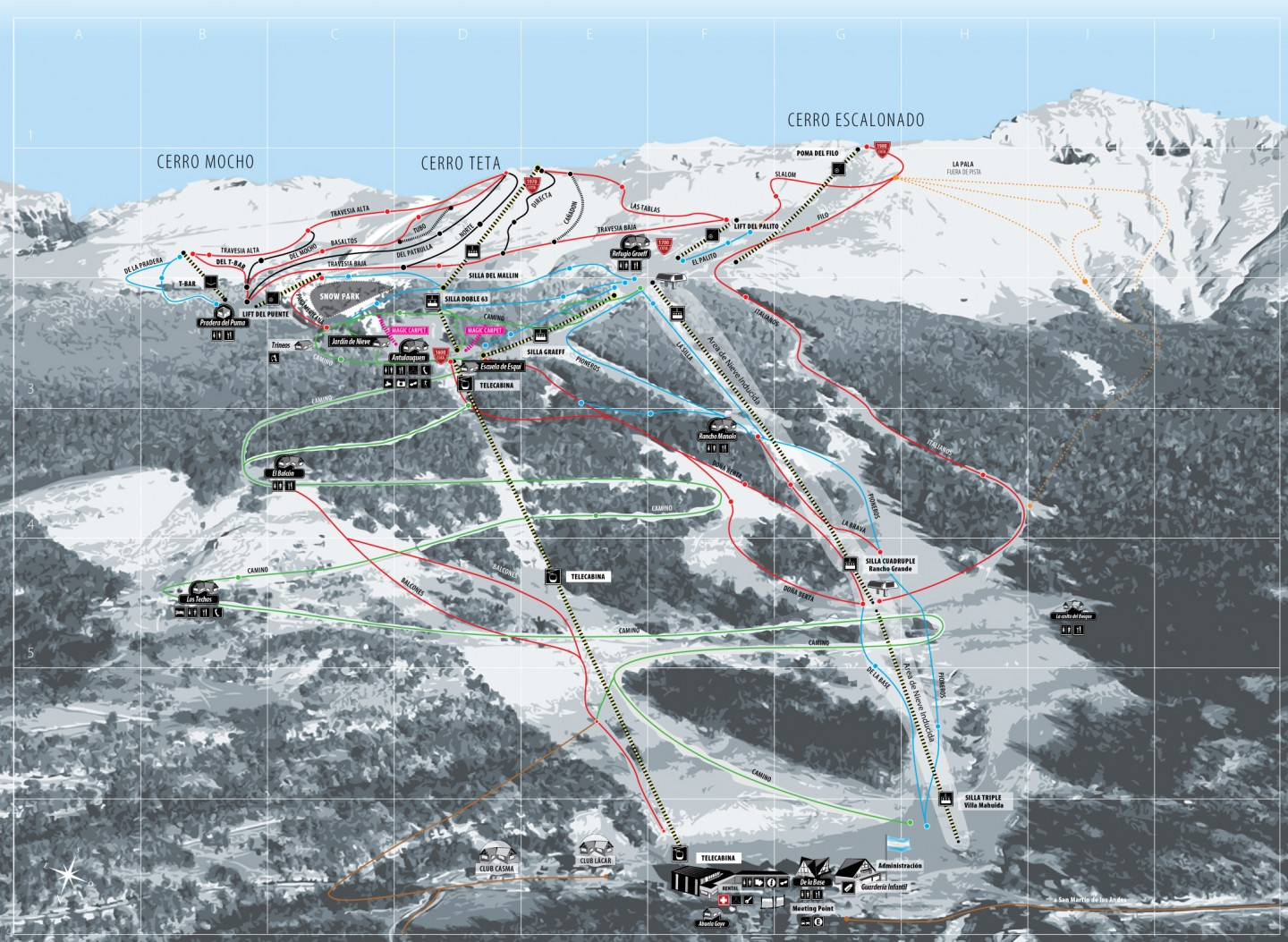 Second fire at Chapelco Ski Resort within a couple of weeks. Ski Map of Chapelco ski resort.