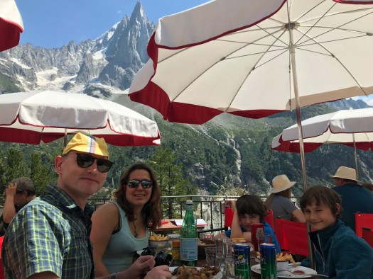 Lunch with the family at the main restaurant of the Terminal Neige-Refuge - with views of the Aiguille Des Drus.