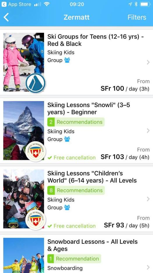 CheckYeti App on my Iphone. I am looking for instructors in Zermatt.