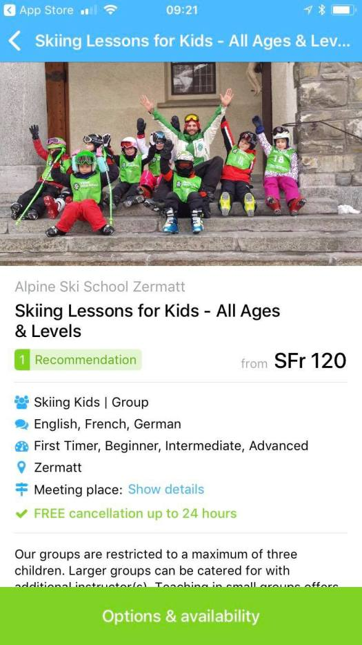 CheckYeti app on my IPhone. I am seeing now for a group lesson in Zermatt for my kids.