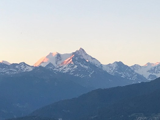 The alpenglow in Crans-Montana- view from the Elite Hotel. Photo by: The-Ski-Guru.