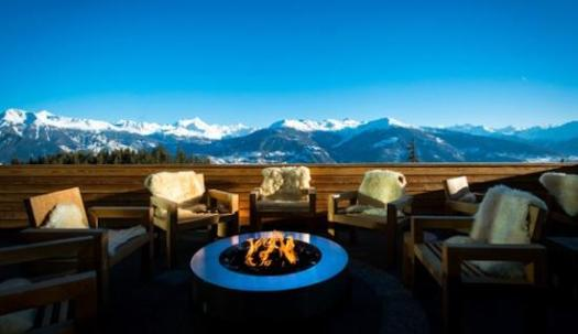 The views of the terrace at the Crans Ambassador.