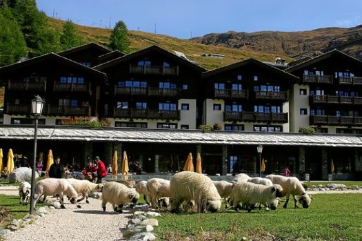 Exterior of the Riffelalp 2222m Resort.