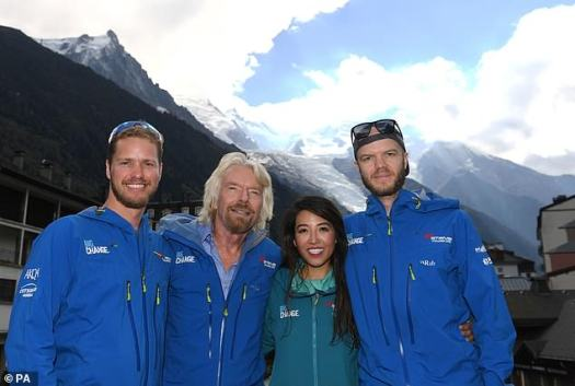 Sir Richard Branson and his son arrive seconds after death during the dramatic climb to the Mont Blanc.