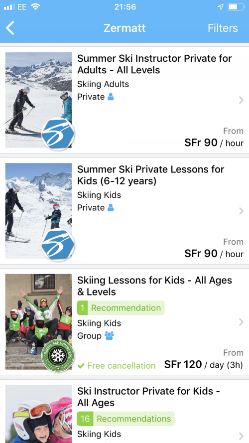 Booking ski or snowboard lessons in Zermatt with CheckYeti is a breeze.