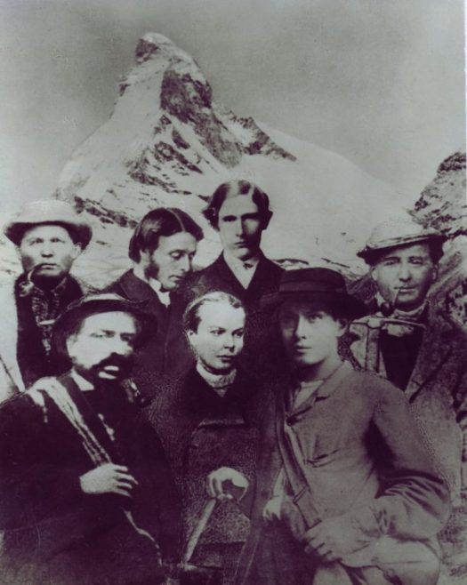 The climbing group that reached the summit of the Matterhorn on 14th July 1865. Photo archive Zermatt Tourism.