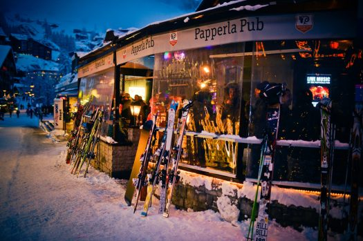 Papperla Pub - one of the places for après-ski in downtown Zermatt. Credit Tradition Julen. Courtesy Zermatt Tourism Office.