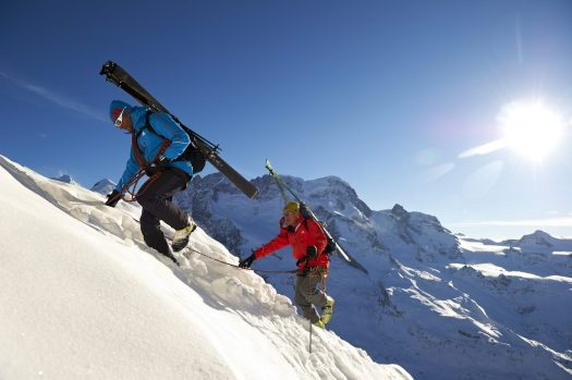 Climbing with a ski guide- Alpine Center. Photo credit: Zermatt Tourism Office.