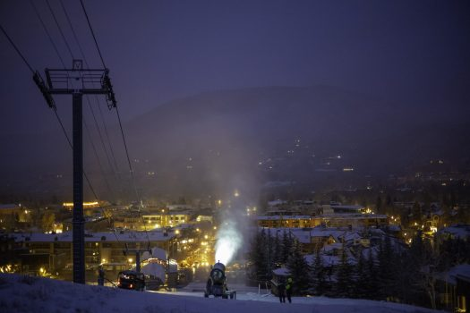 Snowmaking is underway in Aspen Mountain. Photo: Dan Bayer. Aspen Skiing Company. Snowmaking Operations Underway at Aspen Snowmass for the 2018-19 Season