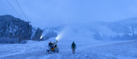 A lonely snowmaker working in Ajax. Photo: Dan Bayer. Aspen Skiing Company. Snowmaking Operations Underway at Aspen Snowmass for the 2018-19 Season