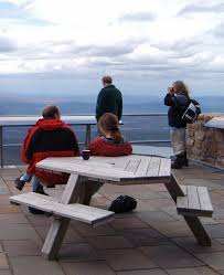 A pause on a ski day at a deck in Cairngorm Mountain. Cairngorm Mountain's funicular might not open this coming season.