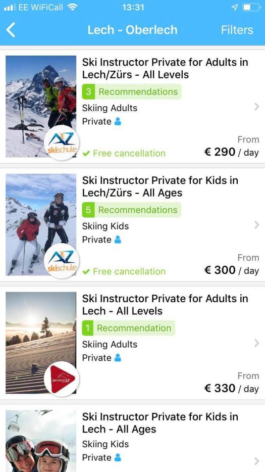 With CheckYeti you can prebook your ski lessons in Lech.