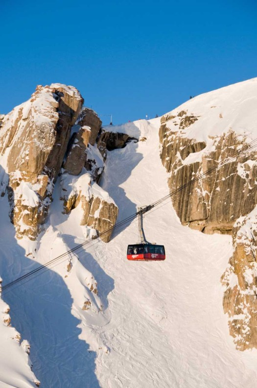 Jackson Hole Tram over Corbet's Colouir. This is for Extreme Skiers, but you also have new terrain for beginners and families. Photo: Jackson Hole Mountain Resort.