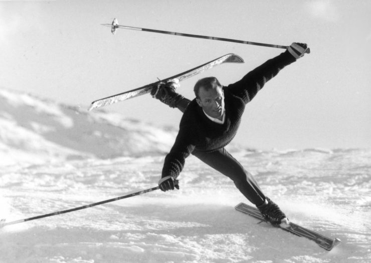 A skier dancing in the snow (or about to tumble!) Photo courtesy of Kristiana Lech, Lech am Arlberg.