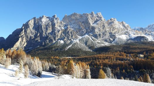 First snow in Cortina. Photo: Cortina Marketing. Cortina D'Ampezzo is gearing up for a great winter season and the 2021 Ski World Championships.
