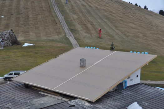 A view from the roof fixed in record time for the opening of the season - Rifugio Comici- Selva di Val Gardena. Sudtirol.