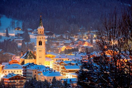Cortina by night. Photo: www.bandion.it. Cortina Marketing. Cortina D'Ampezzo is gearing up for a great winter season and the 2021 Ski World Championships.