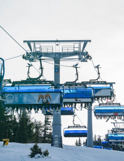 Ed Coyle photo. Big Sky Montana photo. An eight-people high speed lift in Big Sky. The Ramcharger. Different types of lifts on resorts (I can think of) and how to ride them.