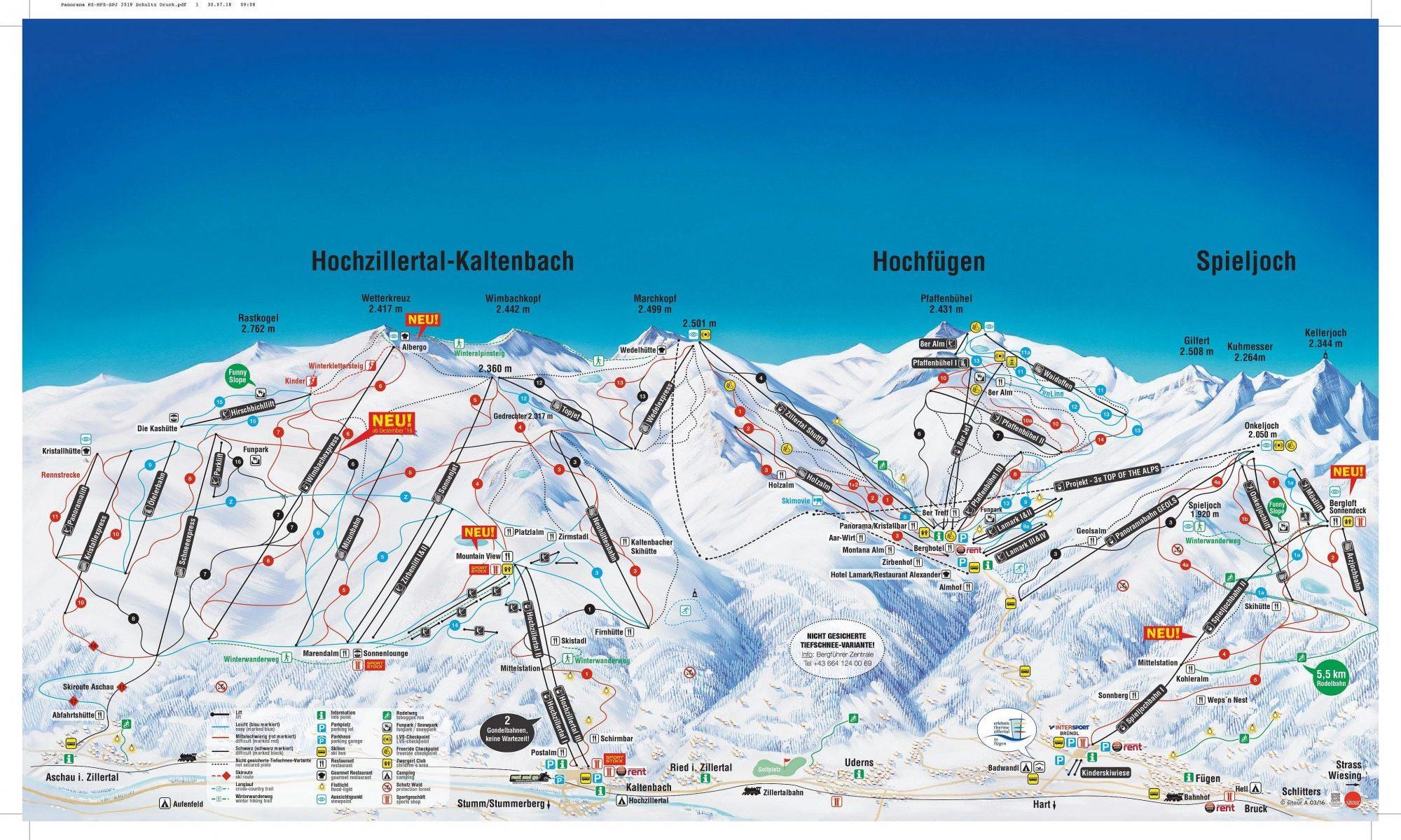 Hochzillertal ski map. A Gondola Accident happened in Hochzillertal today.