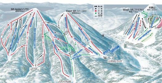 The ski map of Rusutsu. Rusutsu, the Japanese Resort joins the EPIC Pass for the 2019-20 ski season.