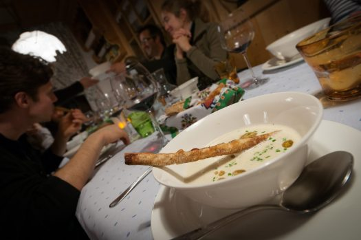 Food at its top in the Dolomites. The-Ski-Guru Travel takes you to a Long Ski Safari in the Dolomites.