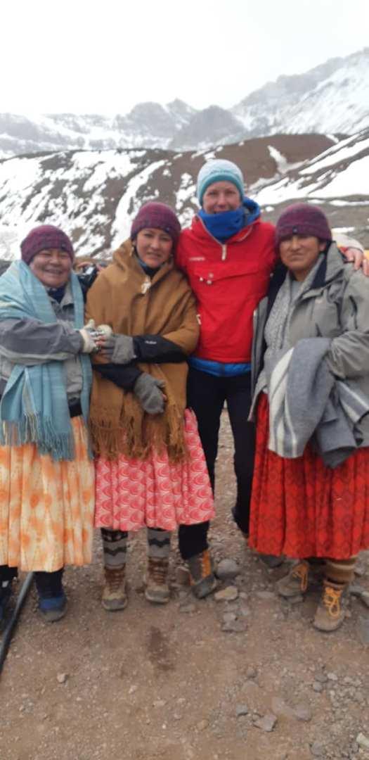 A group of Bolivian 'Cholitas' women to climb Aconcagua. Facebook page photo.