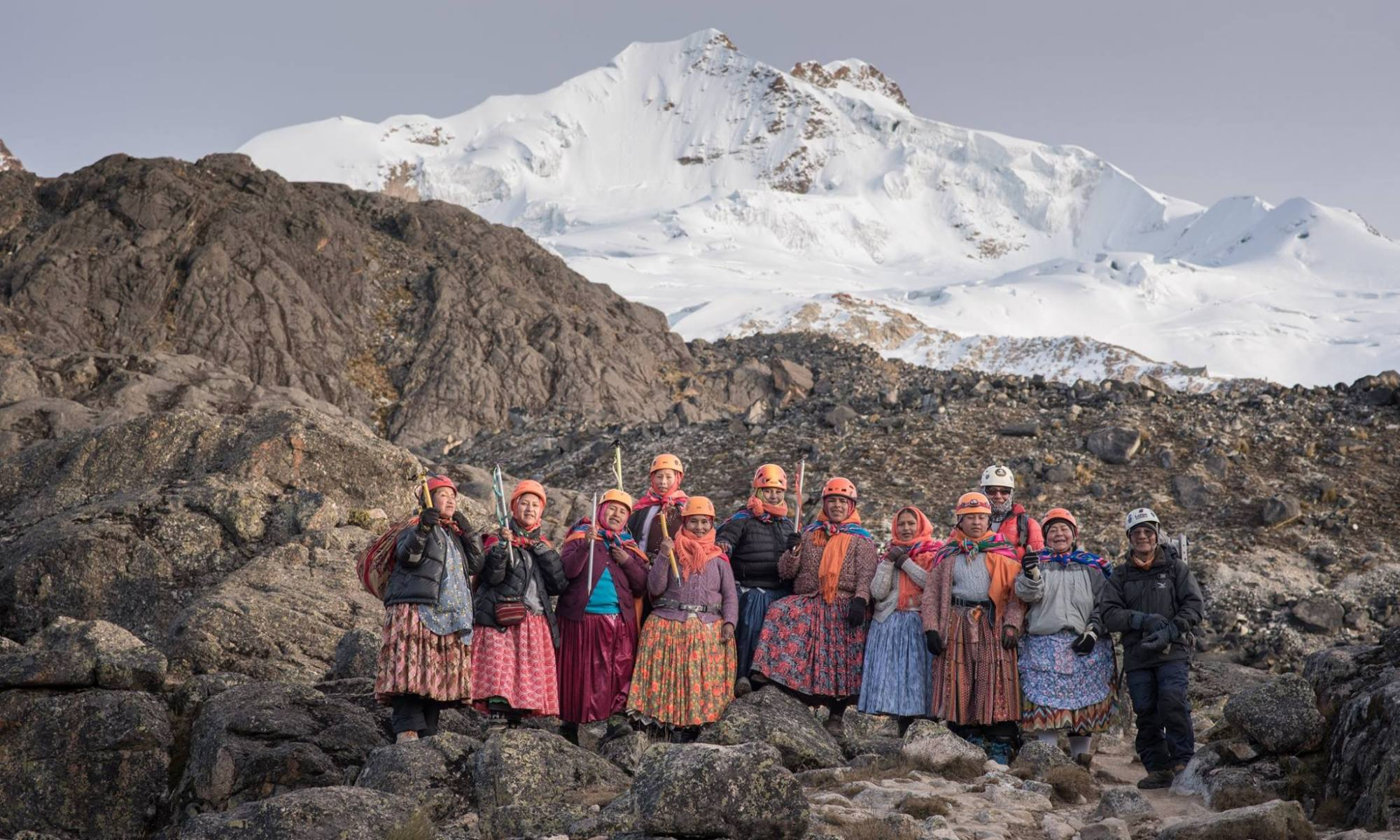 A group of Bolivian 'Cholitas' women to climb Aconcagua. Photo Marzena Wystrach Marchowska. Posted on their Facebook page.