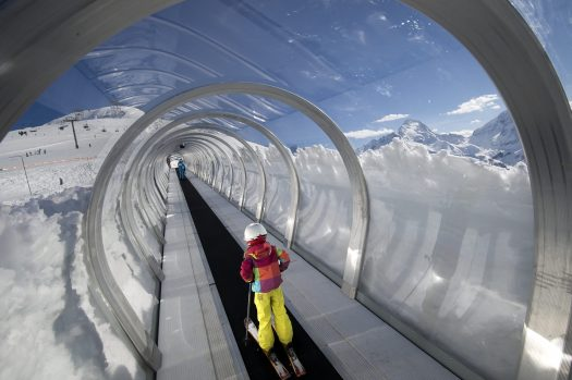A covered magic carpet or tapis roulant. Photo: Yoann Peisin. Les Deux Alpes. How would a no-deal Brexit affect the travel industry? MPI Brokers gives its interpretation of information from various sources.