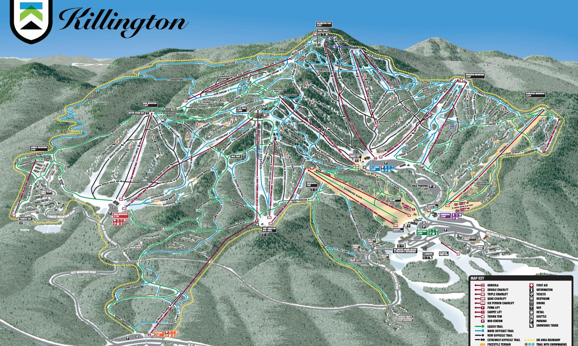 Killington ski map. Killington will replace the North Ridge Triple Lift with a Quad Chairlift.