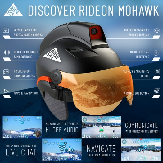 "Equipped with the latest Augmented Reality (AR) technology, the ski and snowboard helmet ""Mohawk"" offers many useful features. Credit: RideOn. A glance into the future: First ski and snowboard helmet with Augmented Reality is being tested in Schladming-Dachstein"